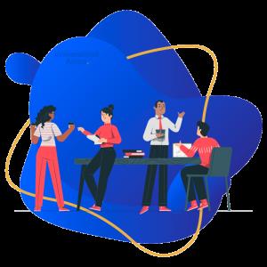 Universidad Alnus - Scrum Master y Propietario del Producto - persona profesional hablando con sus compañeros de trabajo